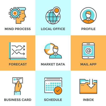 Línea iconos establecidos con elementos de diseño planas de flujo de trabajo, la gente les importa proceso, los datos de previsión de mercado, marca pin oficina local, horario de trabajo gráfico. Moderno concepto de colección pictograma vector logo. Vectores