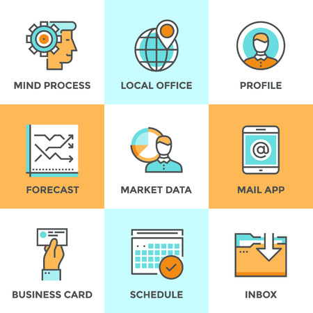 Line icons set with flat design elements of business workflow, people mind process, market data forecast, local office pin mark, work schedule graphic. Modern vector logo pictogram collection concept.