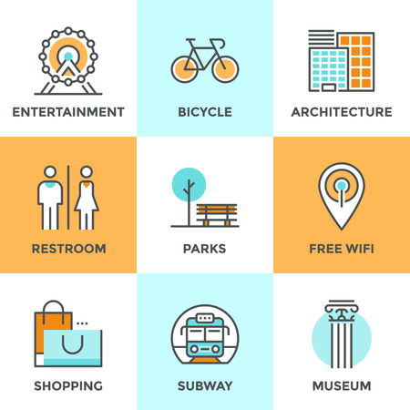 railway transports: Line icons set with flat design elements of city architecture, landmark entertainment, place for rest, park with free wifi hotspot, people restroom. Modern vector logo pictogram collection concept.