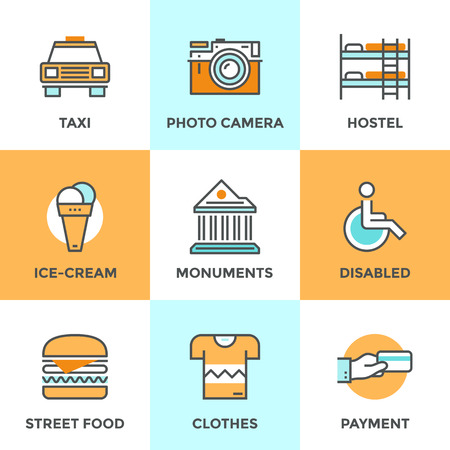 accommodation: Line icons set with flat design elements of city taxi, street food, environment for people with disabilities, accommodation in hostel. Modern vector logo pictogram collection concept. Illustration