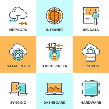 connexion: icônes de ligne de conduite avec des éléments plats de conception de réseau de cloud computing, grande analyse des données, la sécurité sur Internet, l'ordinateur, la synchronisation de connexion du centre de données. Moderne logo vectoriel collection pictogramme concept.