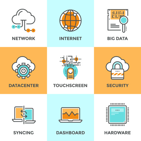 web hosting: Line icons set with flat design elements of cloud computing network, big data analysis, internet security, syncing computer, datacenter connection. Modern vector logo pictogram collection concept.