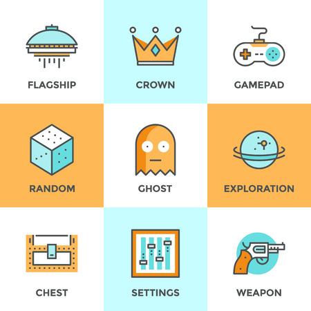 Iconos de comunicación establecidos con elementos planos de diseño de videojuegos, juegos de ordenador, consola, gamepad juego shooter videojuegos, desarrollo de entretenimiento indie. Concepto moderno colección pictograma vector logo. Vectores