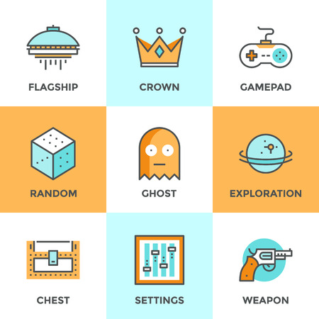 Line icons set with flat design elements of video game, computer gaming, gamepad console, play shooter videogame, indie entertainment development. Modern vector logo pictogram collection concept. Illustration