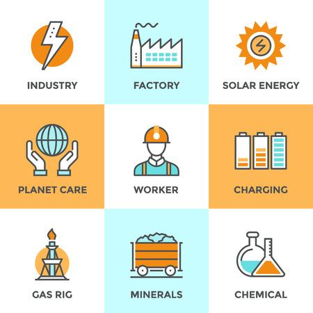 Iconos Line establecen con elementos planos de diseño de la industria eléctrica, producción de la fábrica, la minería de minerales, energía solar, análisis químicos, cuidado planeta. Moderno concepto de colección pictograma vector logo.