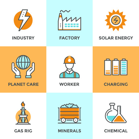 industries: Line icons set with flat design elements of electric industry, factory production, mining minerals, solar energy, chemical analysis, planet care. Modern vector logo pictogram collection concept.