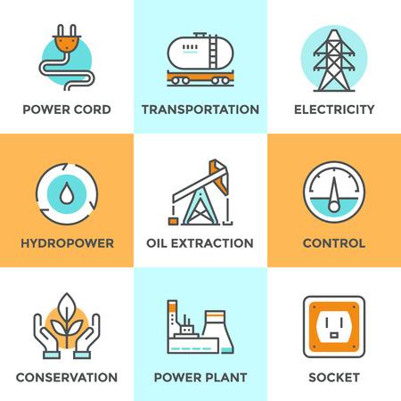 medio ambiente: Iconos de comunicaci�n establecen con elementos de dise�o planos de planta de energ�a, la energ�a hidroel�ctrica, la extracci�n de petr�leo y el transporte, la torre de electricidad, la conservaci�n de la ecolog�a. Concepto moderno colecci�n pictograma vector logo.