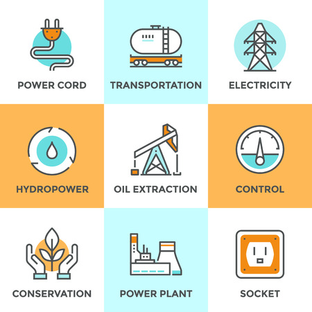 environment: Line icons set with flat design elements of power plant, hydropower energy, oil extraction and transportation, electricity tower, ecology conservation. Modern vector logo pictogram collection concept.