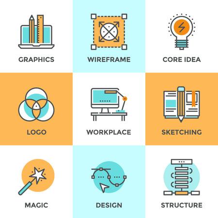 Iconos de comunicación establecidos con elementos de diseño de planos de desarrollo del diseño gráfico, crean logotipo o emblema, dibujo boceto, habilidades súper magia, lugar de trabajo de diseño. Concepto moderno colección pictograma vector logo.