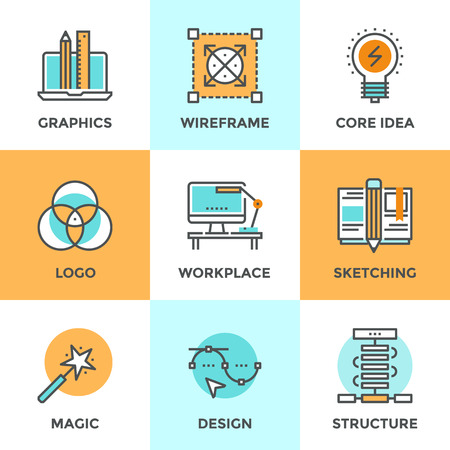 creation: Line icons set with flat design elements of graphic design development, create logo or emblem, sketch drawing, super magic skills, designer workplace. Modern vector logo pictogram collection concept.