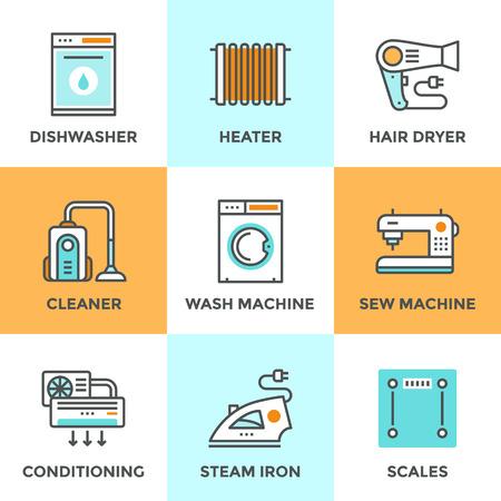 servicio domestico: Iconos de comunicación establecidos con elementos planos de diseño de artículos para el hogar, electrodomésticos, más limpio y lavavajillas, aire acondicionado, balanzas electrónicas. Concepto moderno colección pictograma vector logo.