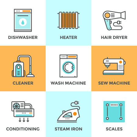 conditioner: Line icons set with flat design elements of household goods, home appliance, cleaner and dishwasher machine, air conditioning, electronic scales. Modern vector logo pictogram collection concept.
