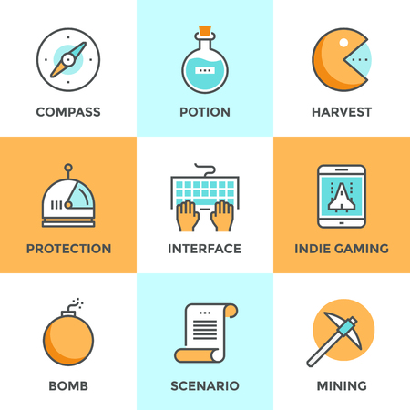 challenges: Line icons set with flat design elements of indie gaming elements, scenario video game develop, search compass, player protection, mining resources. Modern vector logo pictogram collection concept.