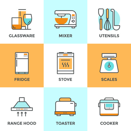 kitchen range: Line icons set with flat design elements of kitchen utensils, glassware and home appliance, fridge and cooker hood, cooking on stove, mixer and toaster. Modern vector logo pictogram collection concept.