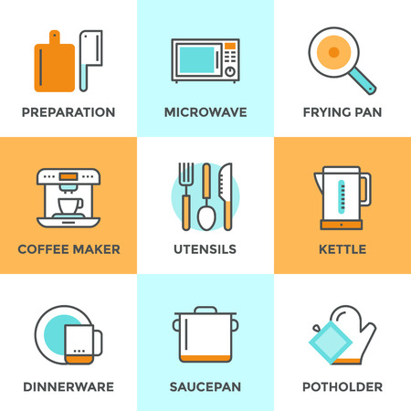 food preparation: Line icons set with flat design elements of kitchen utensils and kitchenware, cooking food preparation, frying pan, microwave oven and coffee machine. Modern vector logo pictogram collection concept. Illustration