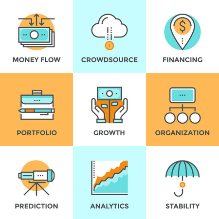 Line icons set with flat design of money growth, financial planning, investment portfolio, crowdsource funding, market data analytics, business vision. Modern vector logo pictogram collection concept. Vettoriali