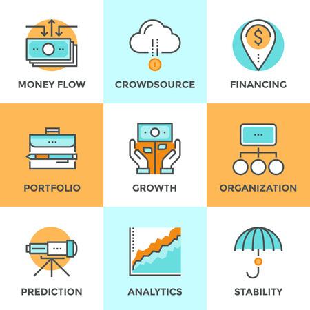 Iconos de comunicación establecidos con diseño plano del crecimiento monetario, la planificación financiera, la cartera de inversiones, financiación crowdsource, análisis de datos de mercado, visión de negocio. Concepto moderno colección pictograma vector logo. Logos