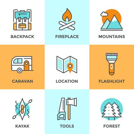 canoa: Línea iconos establecidos con elementos planos de diseño de aventura al aire libre, viaje turístico, equipo de senderismo, el montañismo, el bosque y terreno, rafting en el río. Moderno concepto de colección pictograma vector logo. Vectores
