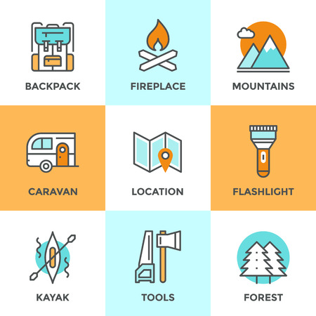 Line icons set with flat design elements of outdoor adventure, tourist trip, hiking equipment, mountain climbing, forest and terrain map, river rafting. Modern vector logo pictogram collection concept.
