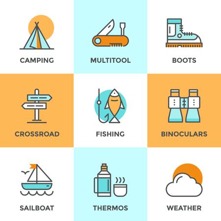 pescando: Iconos de comunicaci�n establecidos con elementos planos de dise�o de actividad de camping recreaci�n, Se�al de direcci�n encrucijada, senderismo y pesca, campamento, actividades al aire libre. Concepto moderno colecci�n pictograma vector logo. Vectores