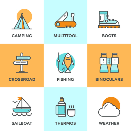 Line icons set with flat design elements of recreation camping activity, directional sign crossroad, hiking and fishing, tent camp, outdoor activities. Modern vector logo pictogram collection concept. Vector