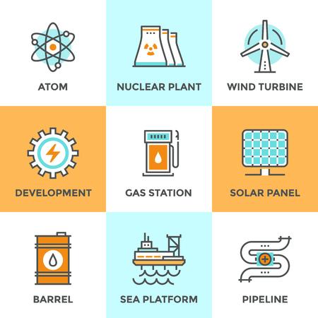 Lijn pictogrammen die met platte design elementen van de wereldwijde ontwikkeling van duurzame energie, kerncentrale, windturbine, olievat, zonnepaneel, pijpleiding transport. Moderne vector logo pictogram collectie concept. Stock Illustratie