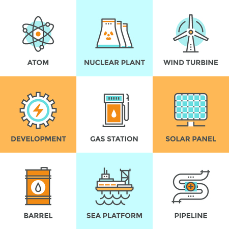 panel: Line icons set with flat design elements of global energy development, nuclear power plant, wind turbine, oil barrel, solar panel, pipeline transport. Modern vector logo pictogram collection concept.