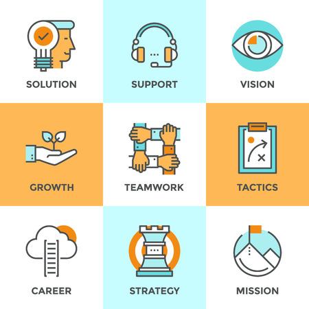 liderazgo empresarial: Iconos de comunicación establecidos con elementos planos de diseño de éxito metáfora de negocios, visión de marketing, atención al cliente, solución idea, escala de la carrera, el crecimiento de arranque. Concepto moderno colección pictograma vector logo.