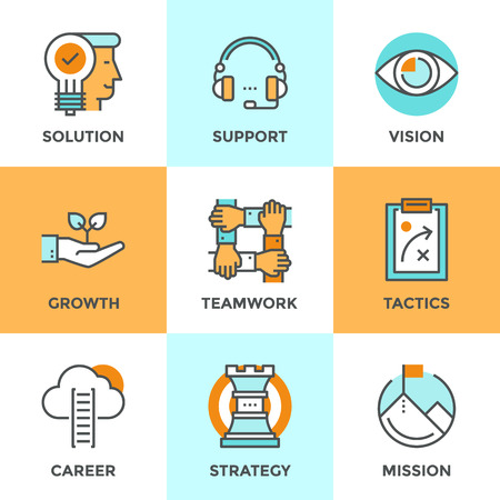 achieve goal: Line icons set with flat design elements of success business metaphor, marketing vision, customer support, idea solution, career ladder, startup growth. Modern vector logo pictogram collection concept.