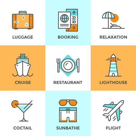 viaggi: Icone linea set con elementi piani di design del viaggio volo aereo, luogo di villeggiatura, nave da crociera, di lusso relax, hotel prenotazione, bagagli turistica. Moderno vettore logo concetto di raccolta pittogramma.