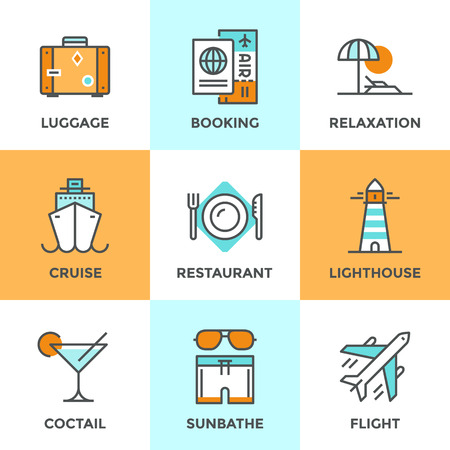 Line icons set with flat design elements of air flight travel, resort vacation, cruise ship, luxury relaxation, booking hotel, tourist luggage. Modern vector logo pictogram collection concept. Иллюстрация