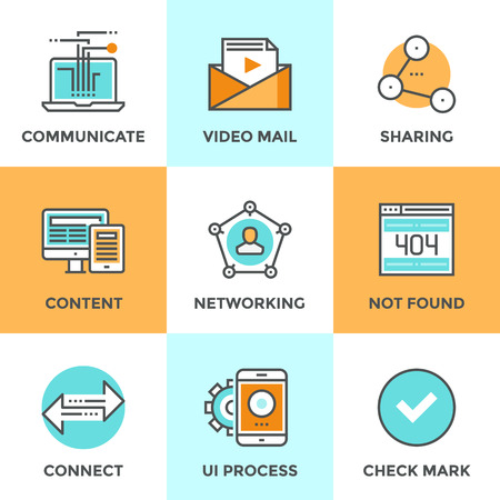 business connection: Line icons set with flat design elements of people networking communication, video mail content, user connect arrows, sharing media information. Modern vector logo pictogram collection concept. Illustration
