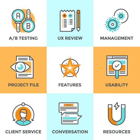 productividad: Iconos de comunicación establecidos con elementos planos de diseño de interfaz de usuario y la experiencia de usuario UX, las pruebas A  B proyecto usabilidad, retroalimentación del cliente de servicios, desarrollo de nuevos productos. Concepto moderno colección pictograma vector logo.