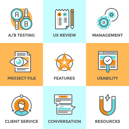 project planning: Line icons set with flat design elements of UI and UX user experience, AB testing usability project, client service feedback, new product development. Modern vector logo pictogram collection concept. Illustration