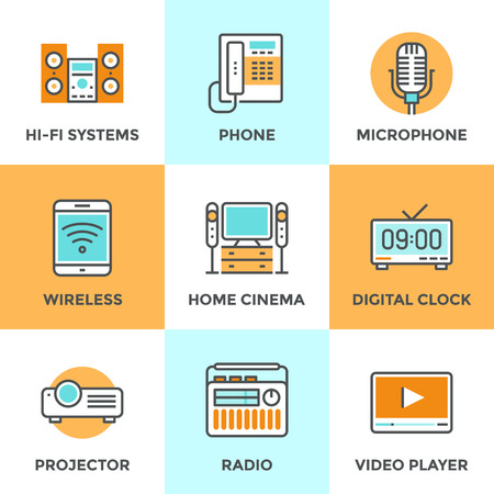 home cinema: Line icons set with flat design elements of audio and video multimedia devices, electronics equipment, hi-fi music system, home cinema, digital clock. Modern vector logo pictogram collection concept. Illustration