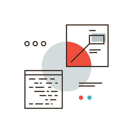 visual: Thin line icon with flat design element of abstract digital interface, computer software analysis, program visual data, future programming application. Modern style logo vector illustration concept.