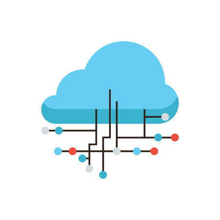 Thin line icon with flat design element of cloud computing connection, internet hosting technology, data link communication, network server storage. Modern style logo vector illustration concept. Vector