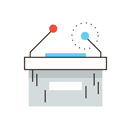 spokesman: Thin line icon with flat design element of press conference table, business seminar, political campaign speech, presentation podium with microphone. Modern style logo vector illustration concept.
