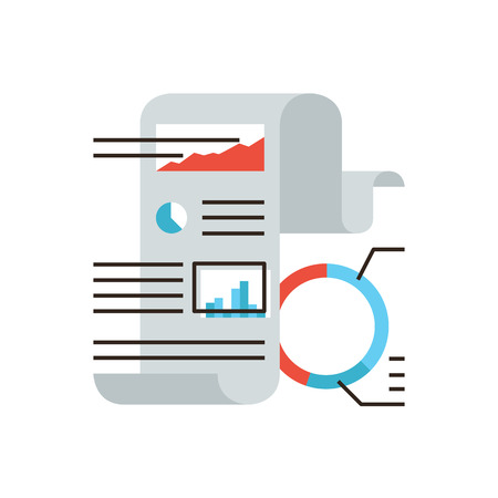 scrutiny: Thin line icon with flat design element of abstract financial statistics, corporate document, business graph and chart, fax paper, market data figures. Modern style logo vector illustration concept.