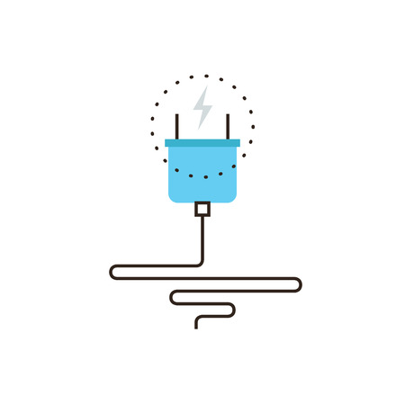electricity cable: Thin line icon with flat design element of power cord plug, effective electricity energy, economy electric consumption, wire cable connection. Modern style logo vector illustration concept.