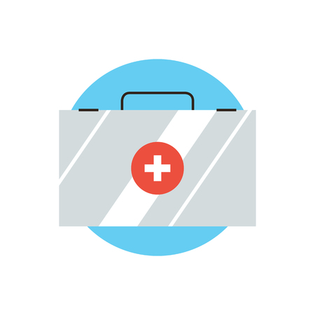 medical box: Thin line icon with flat design element of first aid kit, case with medication, doctor bag, travel medical box, emergency assistance, health care medicine. Modern style logo vector illustration concept.