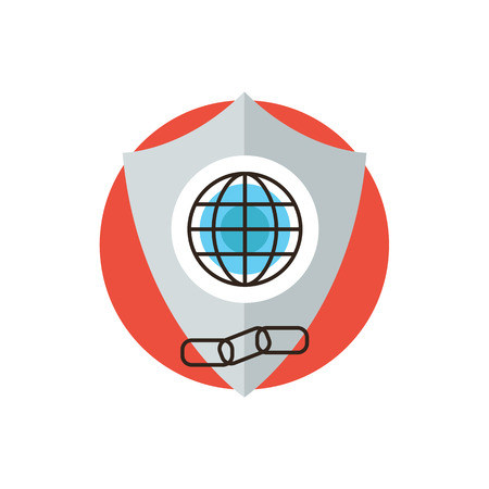 Thin line icon with flat design element of global web protection, security shield connection, secure internet access, protect information from links. Modern style logo vector illustration concept. Ilustrace