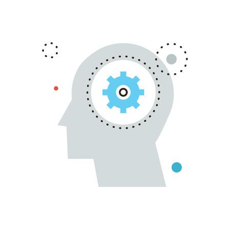 pensamiento creativo: Icono de la l�nea delgada con elemento plano de dise�o de la decisi�n de reflexi�n, cabeza humana, el conocimiento de ganancia, el trabajo de cerebro, proceso de pensamiento, desarrollar la mente. Logotipo del estilo de ilustraci�n vectorial moderno concepto.