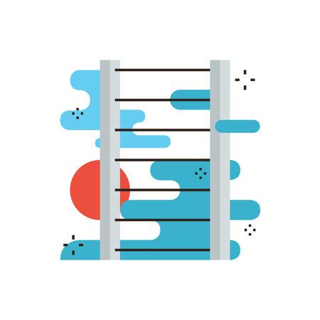 superacion personal: Icono de la l�nea delgada con elemento de dise�o plano de la escalera abstracta de �xito, desarrollo de la carrera personal, �xito met�fora crecimiento, l�der de la compa��a. Logotipo del estilo de ilustraci�n vectorial moderno concepto.