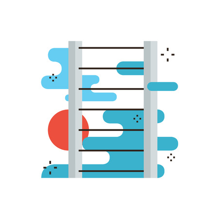 ambitions: Thin line icon with flat design element of abstract ladder of success, personal career progress, successful growth metaphor, leader of company. Modern style logo vector illustration concept. Illustration