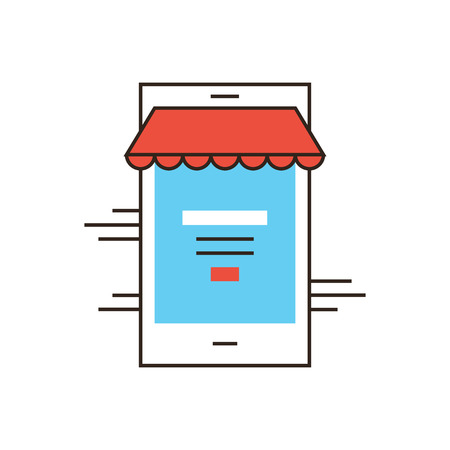 consumerism: Thin line icon with flat design element of mobile shopping on smartphone, online ecommerce sales, internet shop on mobile phone. Modern style logo vector illustration concept.