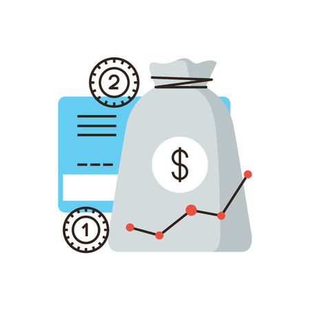 accumulation: Thin line icon with flat design element of financial investment, banking investing, growth income, accumulation of bank funds, money saving profit. Modern style logo vector illustration concept.