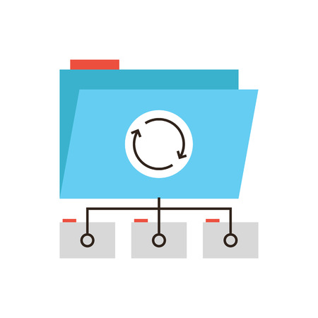 Thin line icon with flat design element of network folder data synchronization, documents archive process, teamwork project file access, info sharing. Modern style logo vector illustration concept.