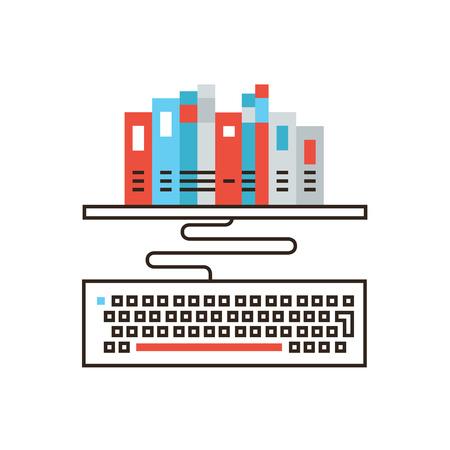 Icono de línea delgada con biblioteca en línea de elementos de diseño plano, educación a distancia, educación remota, lectura de libros, búsqueda de literatura, acceso a la información. Concepto de ilustración de vector de logotipo de estilo moderno.