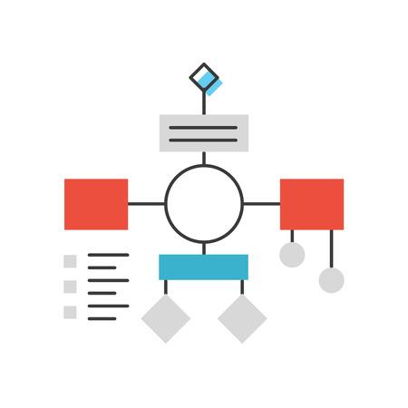 조직: 순서도 계획과 조직, 워크 플로우 마인드 맵, 추상적 인 프로젝트 분석, PDCA 프로세스 알고리즘의 평면 디자인 요소와 얇은 선 아이콘입니다. 현대적인  일러스트